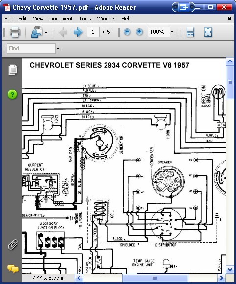 Chevrolet 2934 Corvette V8 1957 Wiring Diagram